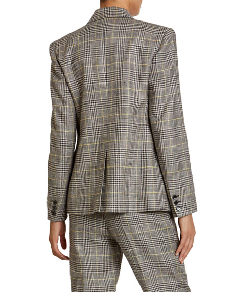 Isabel Marant Checked Linen-Silk Double-Breasted Blazer