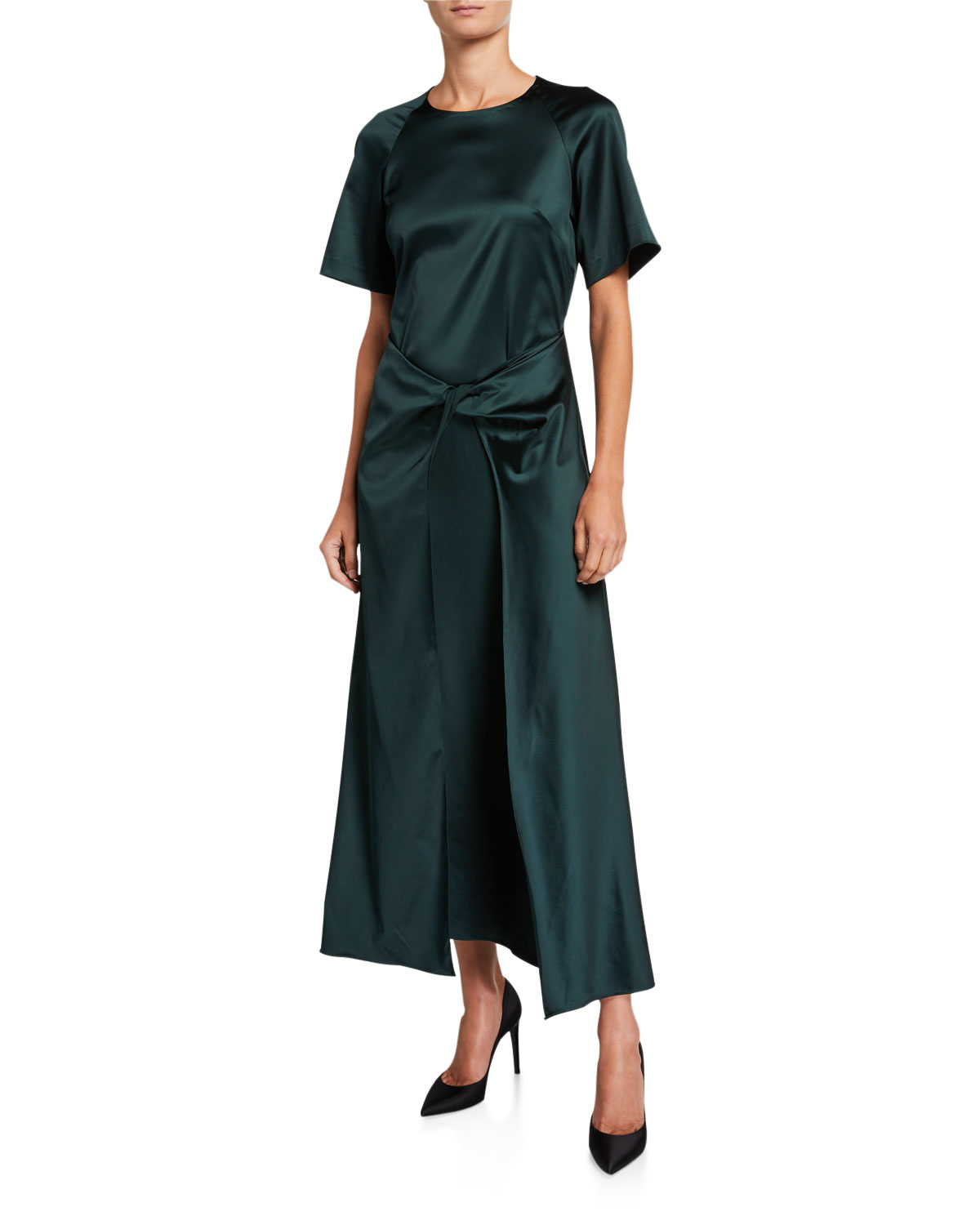Rosetta Getty Satin Short-Sleeve Twisted-Front Dress