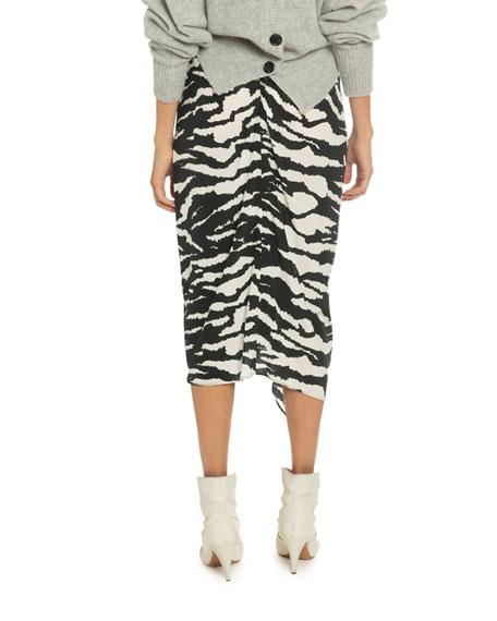Isabel Marant Tiger Print Stretch-Silk Wrap Skirt
