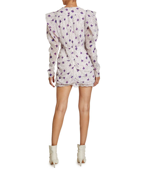 Image 2 of 2: Isabel Marant Floral-Print Cotton-Silk V-Neck Mini Dress