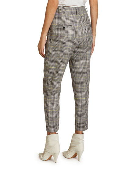 Image 2 of 2: Isabel Marant Checked Linen-Silk Slim-Leg Crop Pants