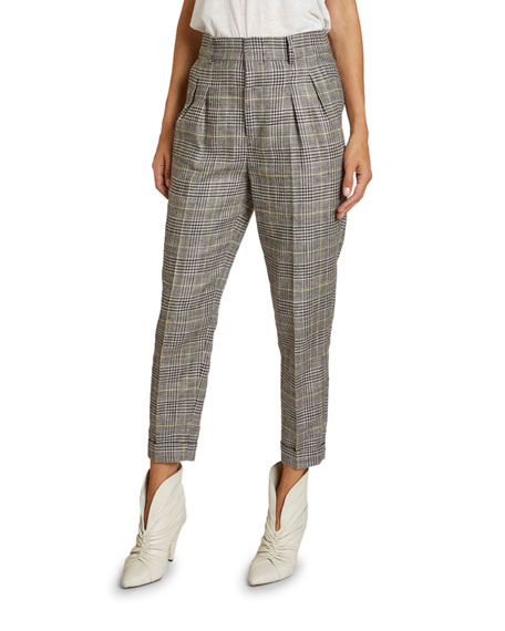 Image 1 of 2: Isabel Marant Checked Linen-Silk Slim-Leg Crop Pants