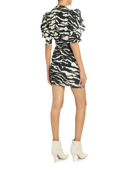 Isabel Marant Tiger-Striped V-Neck Ruffled Sleeve Dress