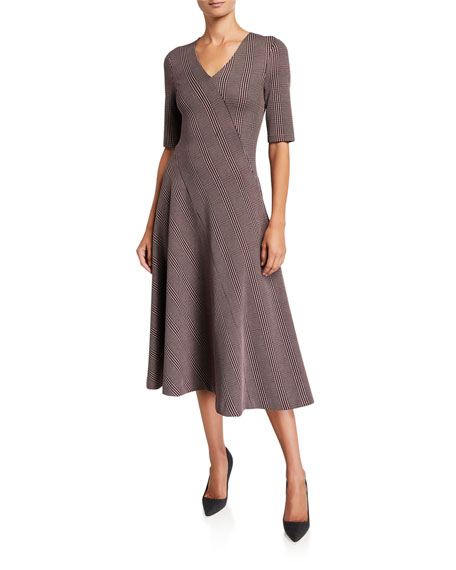 Rosetta Getty Dresses PLAID DOUBLE KNIT JERSEY DRESS