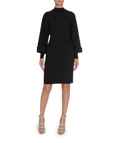 Long-Sleeve Mock-Neck Bodycon Dress