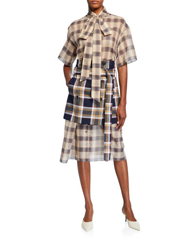 Checked Chiffon Dress with Apron