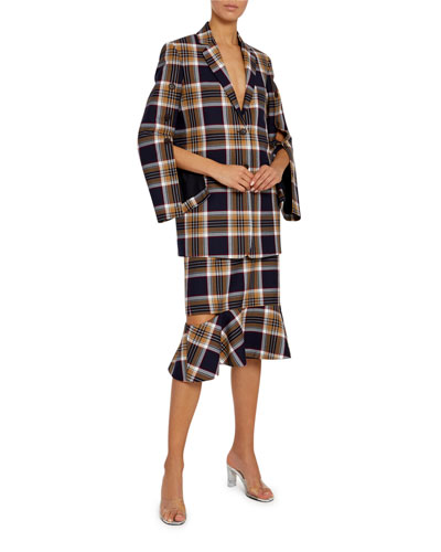 Convertible Plaid Jacket