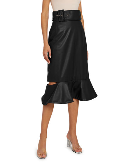 Rokh Leather Frill Drop Skirt