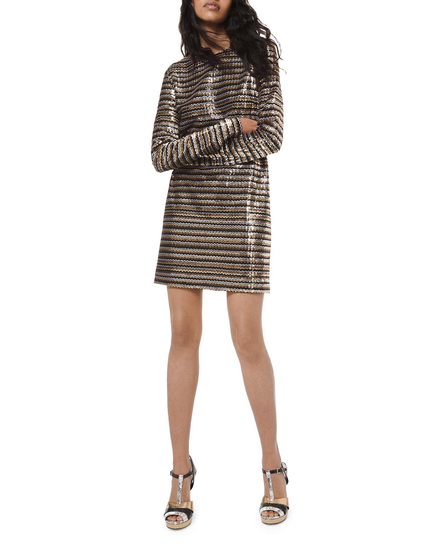 Michael Kors Collection Sequined Chevron Sheath Dress