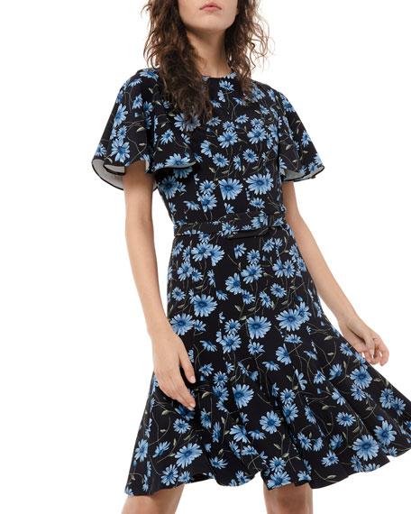 Michael Kors Collection Floral-Print Short-Sleeve Dance Dress