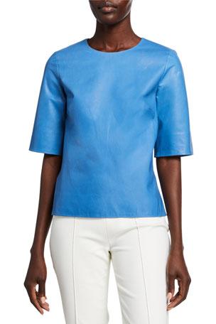 Partow Taos Short-Sleeve Leather Shirt
