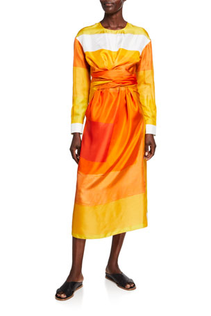 Partow Printed Silk Wrap Dress