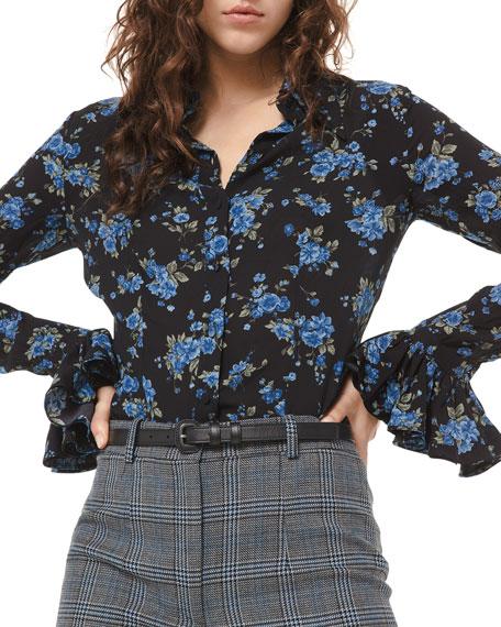 Michael Kors Collection Crushed Ruffle-Cuff Shirt