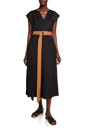 Partow Linen Belted Cap-Sleeve Dress