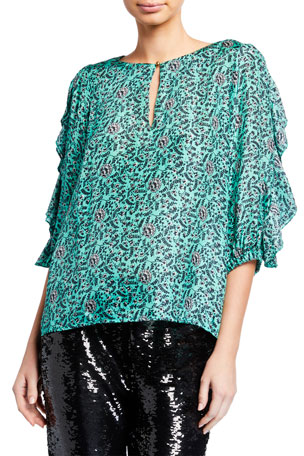 Figue Deryne Silk Ruffled Half-Sleeve Top