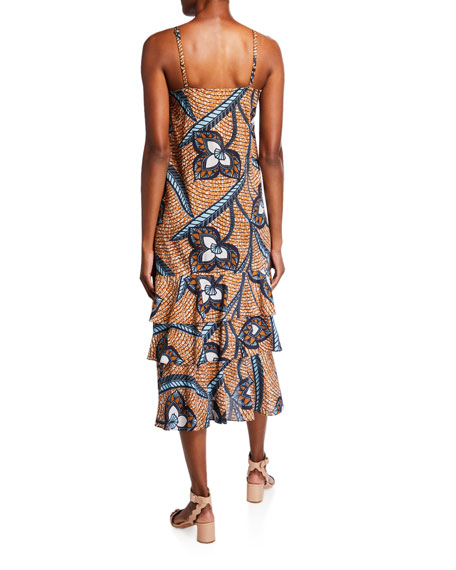 Figue Marina Printed Cotton Ruffle-Tiered Dress