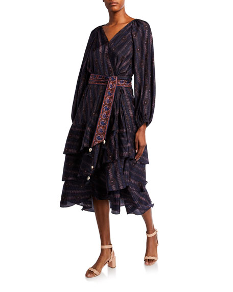 Figue Kira Printed Silk Fit-&-Flare Wrap Dress