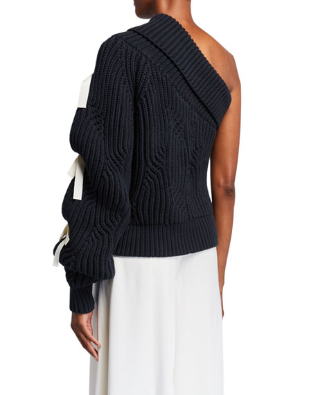 Image 2 of 2: Hellessy Saville One-Shoulder Lace-Up Sweater