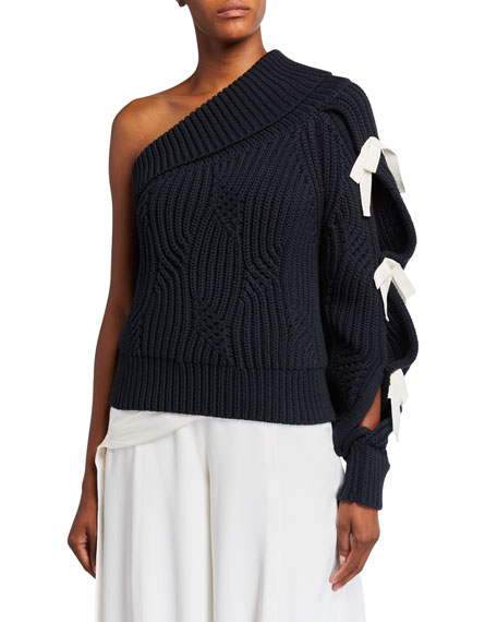Image 1 of 2: Hellessy Saville One-Shoulder Lace-Up Sweater