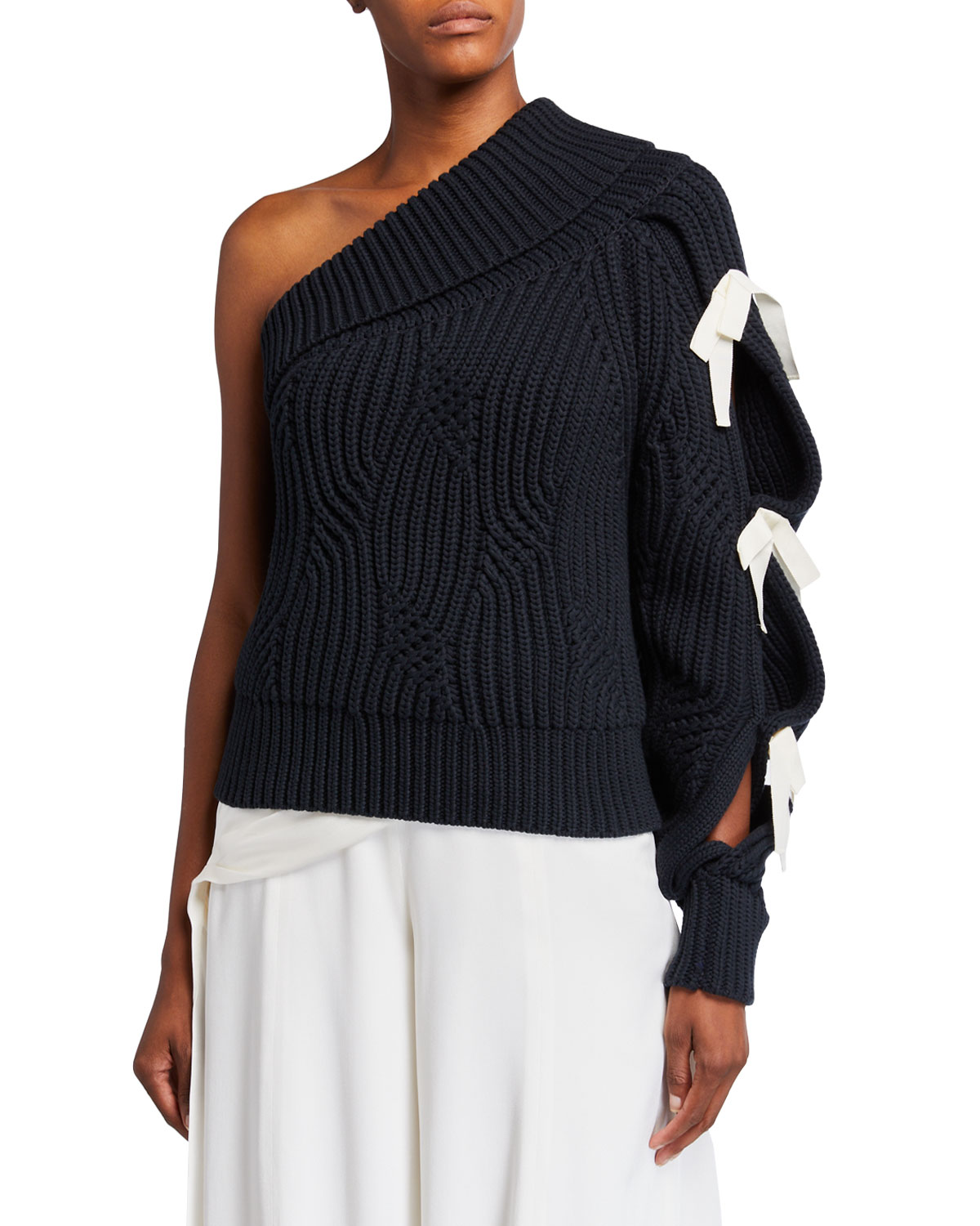 Hellessy Saville One-Shoulder Lace-Up Sweater