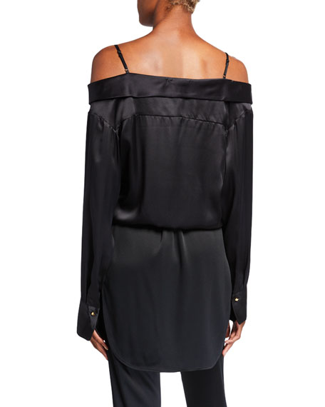 Hellessy Fontana Silk Lace-Shoulder Blouse