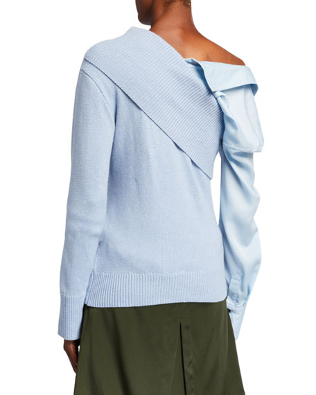 Hellessy Joffe Silk-Cashmere Sweater with Detachable Shirt-Sleeve