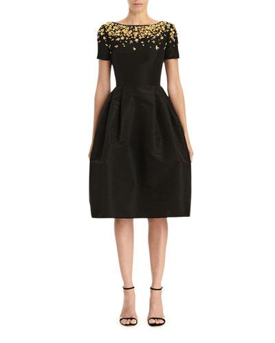 Floral Embellished Short-Sleeve A-Line Dress