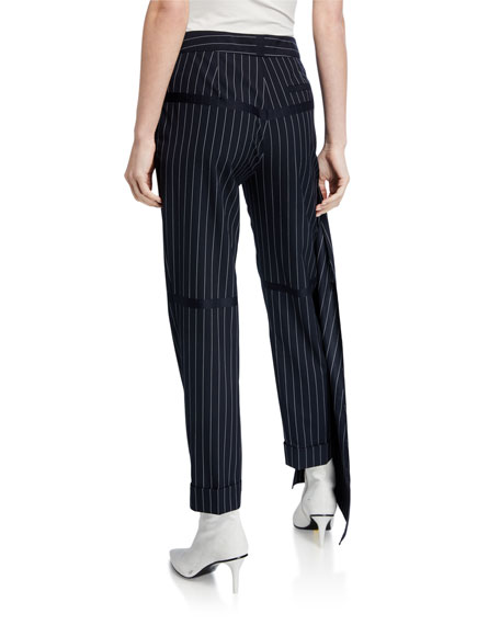 Image 2 of 3: Hellessy Okeefe Pinstriped Trousers with Drape Detail