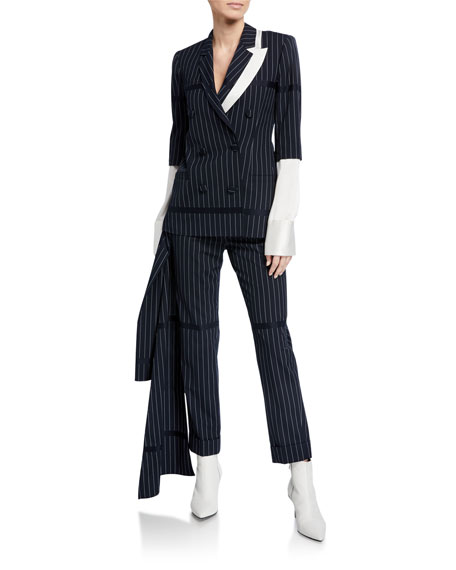 Image 3 of 3: Hellessy Okeefe Pinstriped Trousers with Drape Detail