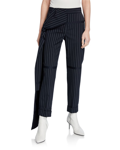 Image 1 of 3: Hellessy Okeefe Pinstriped Trousers with Drape Detail