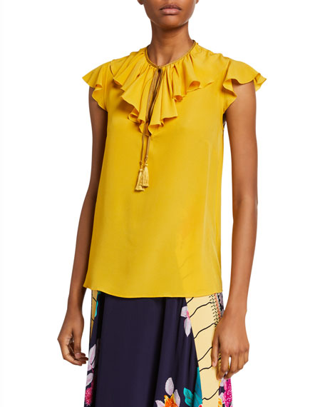 Etro Silk Ruffled-Sleeve Tie-Neck Blouse
