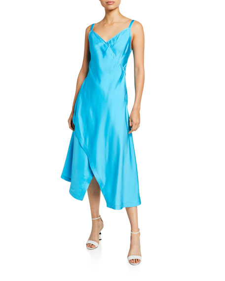 Sies Marjan Satin V-Neck Asymmetric Slip Dress
