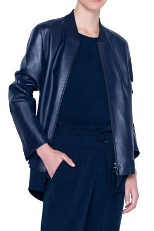 Akris punto Perforated Leather Bomber Jacket