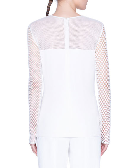Akris punto Mesh-Yoke Long-Sleeve Shirt