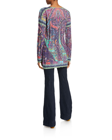 Etro Paisley Metallic Cable-Knit Tunic
