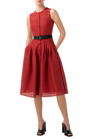 Akris punto Grid Lace Button-Front A-Line Dress