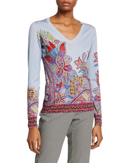 Etro Dreamtime Paisley V-Neck Sweater