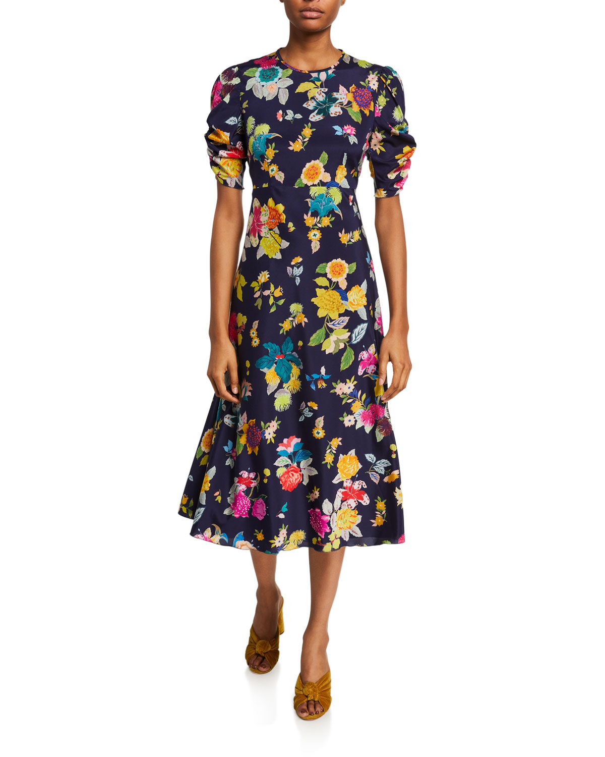 Etro Allover Exotic Floral-Print Silk Dress