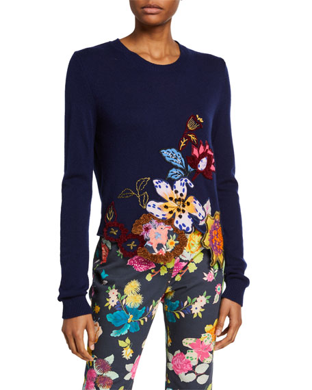 Etro Floral-Embroidered Cutout Sweater