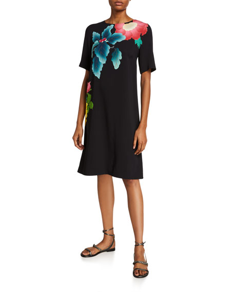 Etro Dresses JAPANESE FLORAL-PRINT SHORT-SLEEVE DRESS