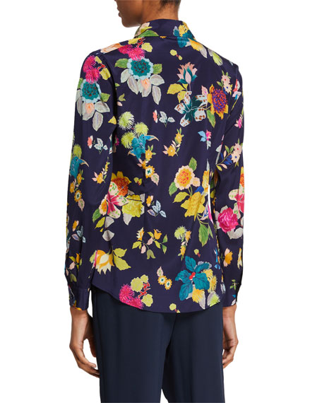 Image 2 of 2: Etro Floral-Print Stretch Silk Shirt