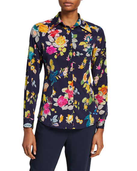 Image 1 of 2: Etro Floral-Print Stretch Silk Shirt