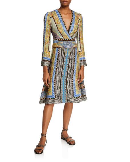 Etro Geometric Paisley Bell-Sleeve Dress In Blue
