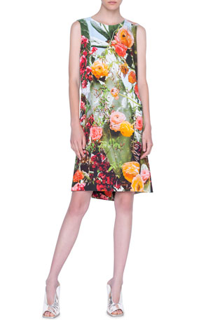 Akris punto Cactus-Print A-Line Dress