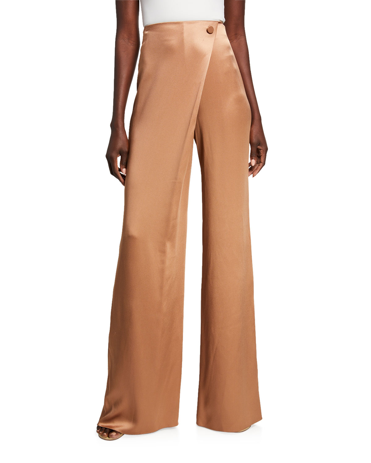 Double Charmeuse High Rise Wide Leg Pants by Cushnie