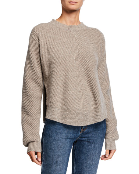 Image 1 of 2: Co Cashmere Chevron Ribbed Sweater
