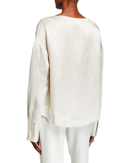 Image 2 of 2: Co Hammered-Satin Long-Sleeve Blouse