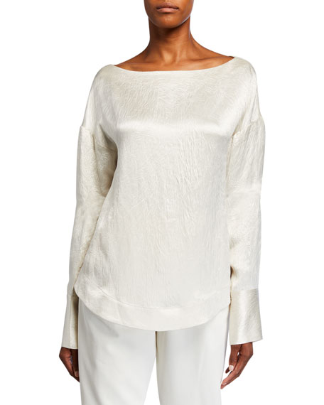 Image 1 of 2: Co Hammered-Satin Long-Sleeve Blouse