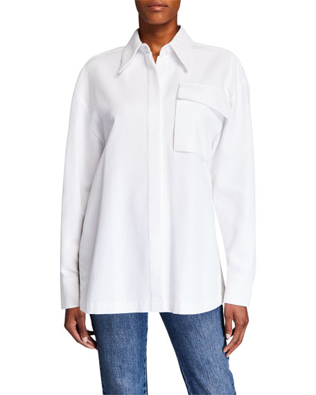 Image 1 of 3: Co Belted Button-Front Shirt