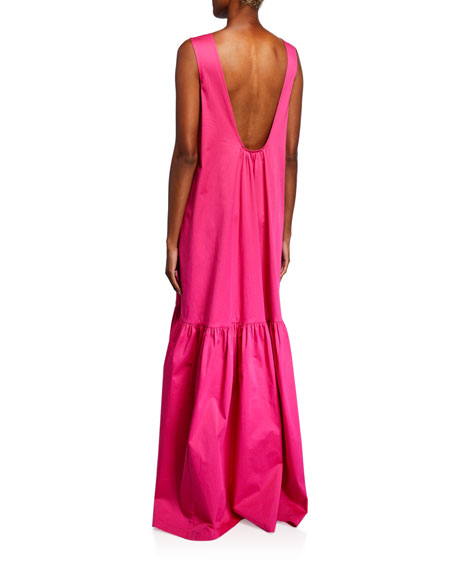 Image 2 of 2: Poplin Sleeveless Low-Back Gown
